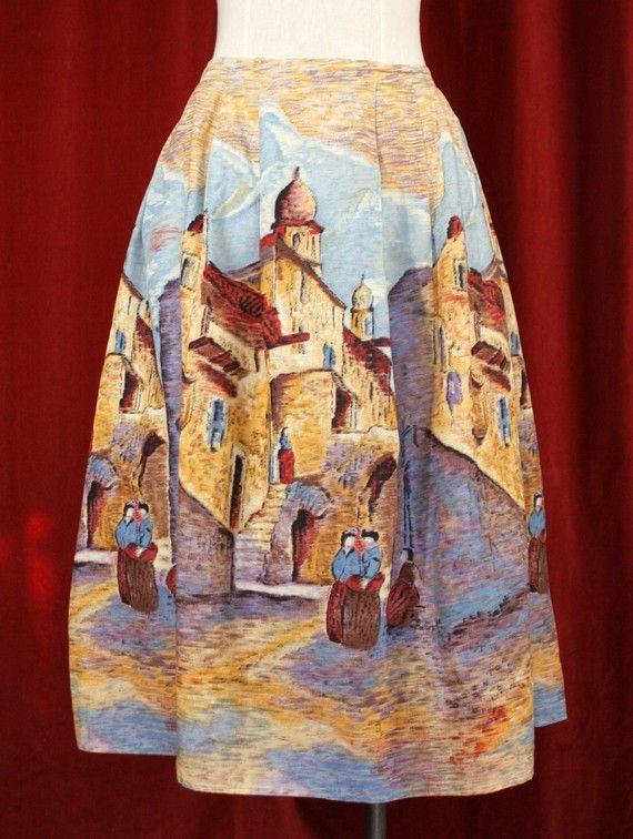 Beautiful Millworth Castillia novelty print skirt. #vintage #1950s #fashion #skirts #novelty_print #Spain