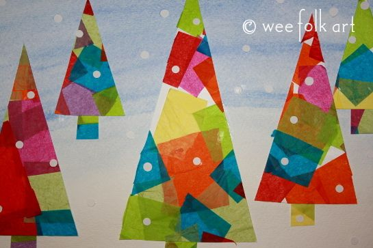 Tissue Paper Winter Trees Art Project Christmas Art Projects Christmas Art Wee Folk Art