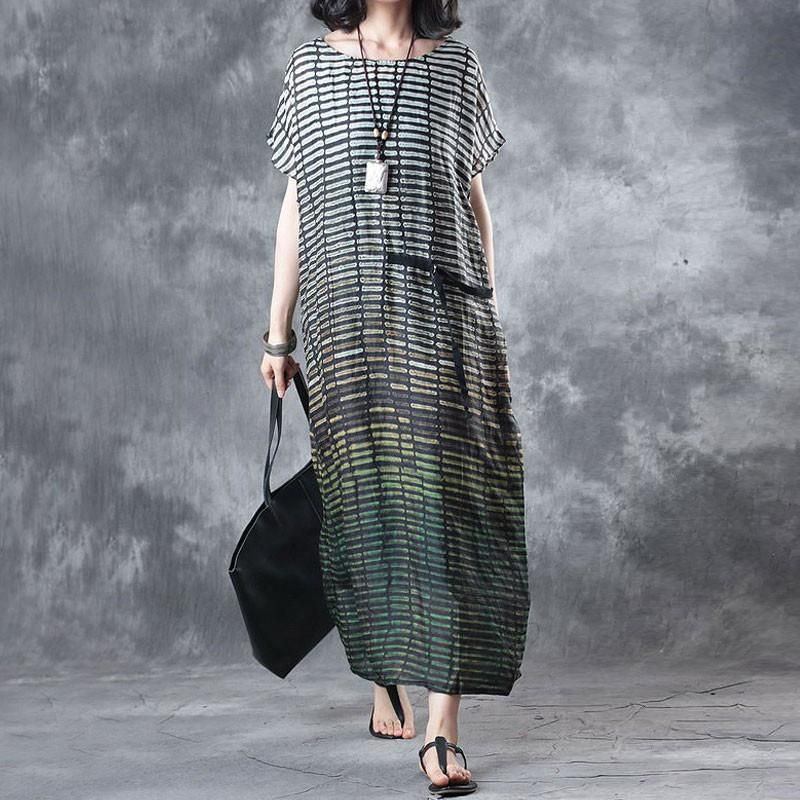 1c45975e69f Linen Stripe Loose Casual Summer Women Green Dress - Buykud