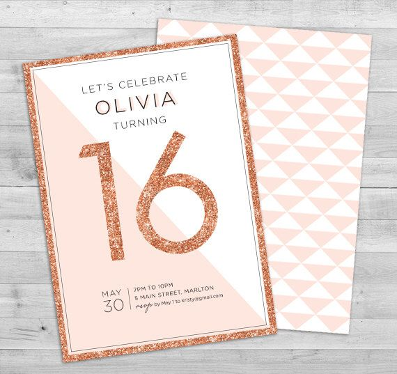 Sweet 16 Invitation Teen Birthday Invitation Printable 16th - how to word a birthday invitation
