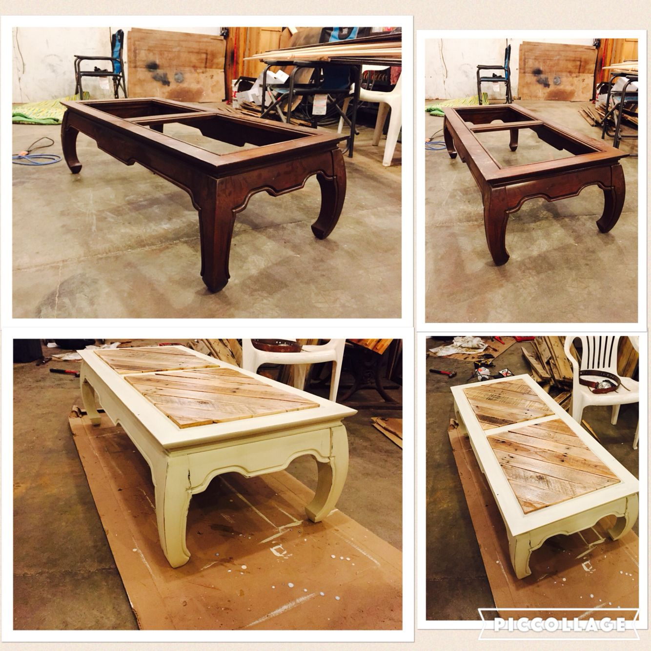 Coffee table missing its glass no problem replace it with pallet wood