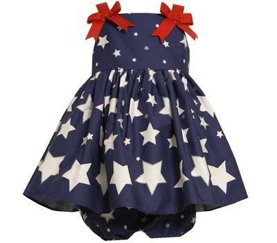 94bebfc5620 Bonnie Jean Baby Girls Red White Blue 4th of July Star Summer Sun Dress 6-9M