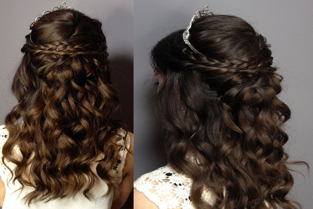 Quinceanera Hairstyles For Long Hair With Curls And Tiara