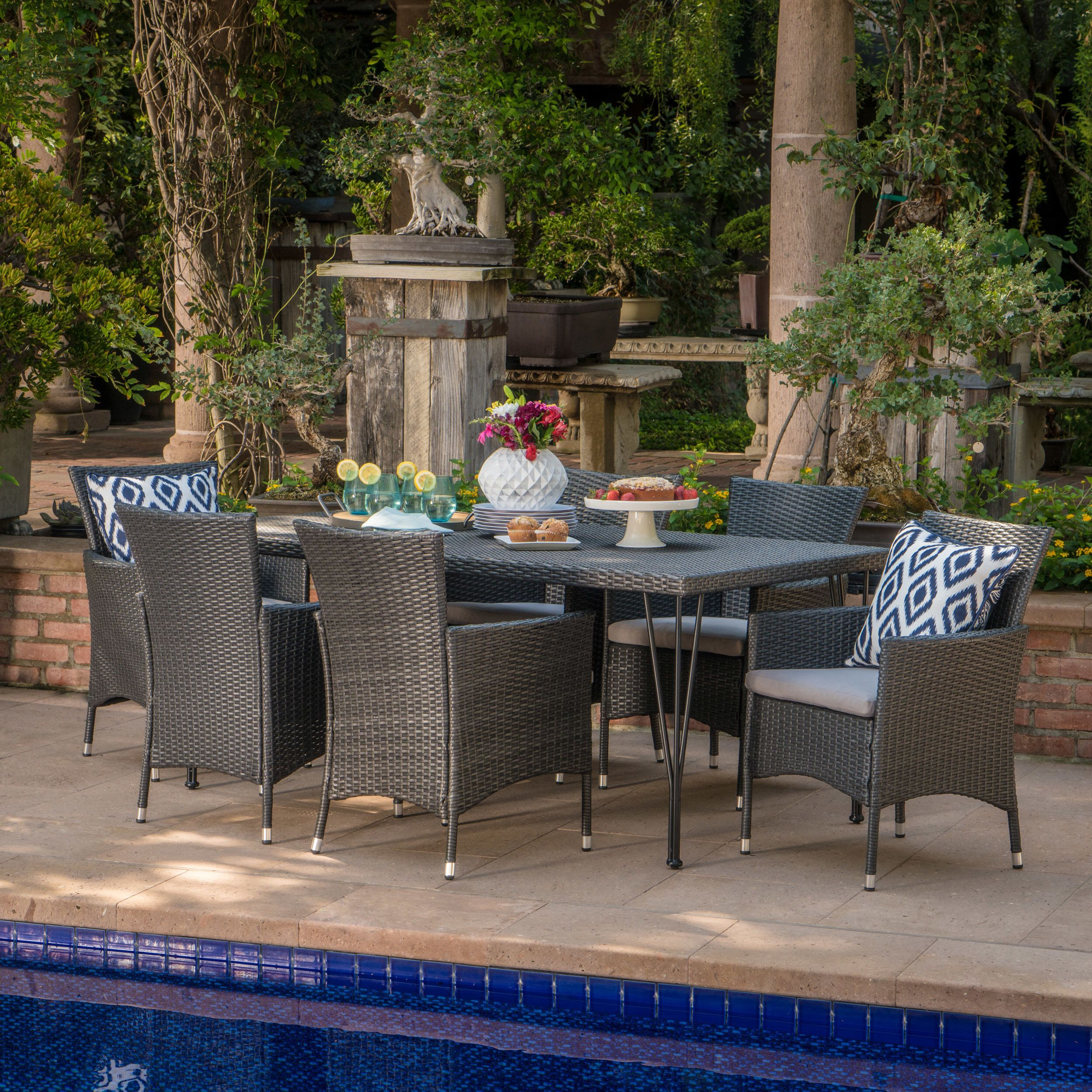 Sensational Alassane Outdoor Wicker 7 Piece Dining Set With Cushions In Cjindustries Chair Design For Home Cjindustriesco
