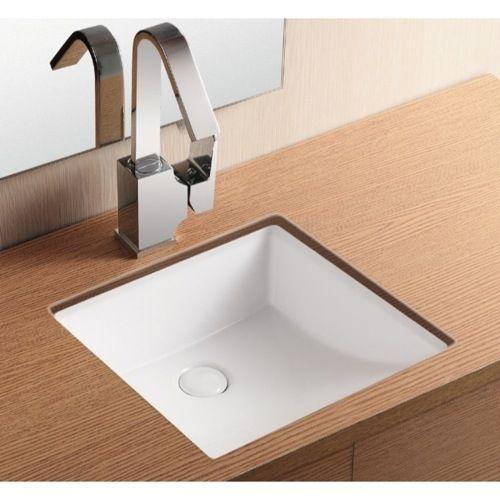 Bathroom Sink Caracalla Ca4068 Square White Ceramic Undermount