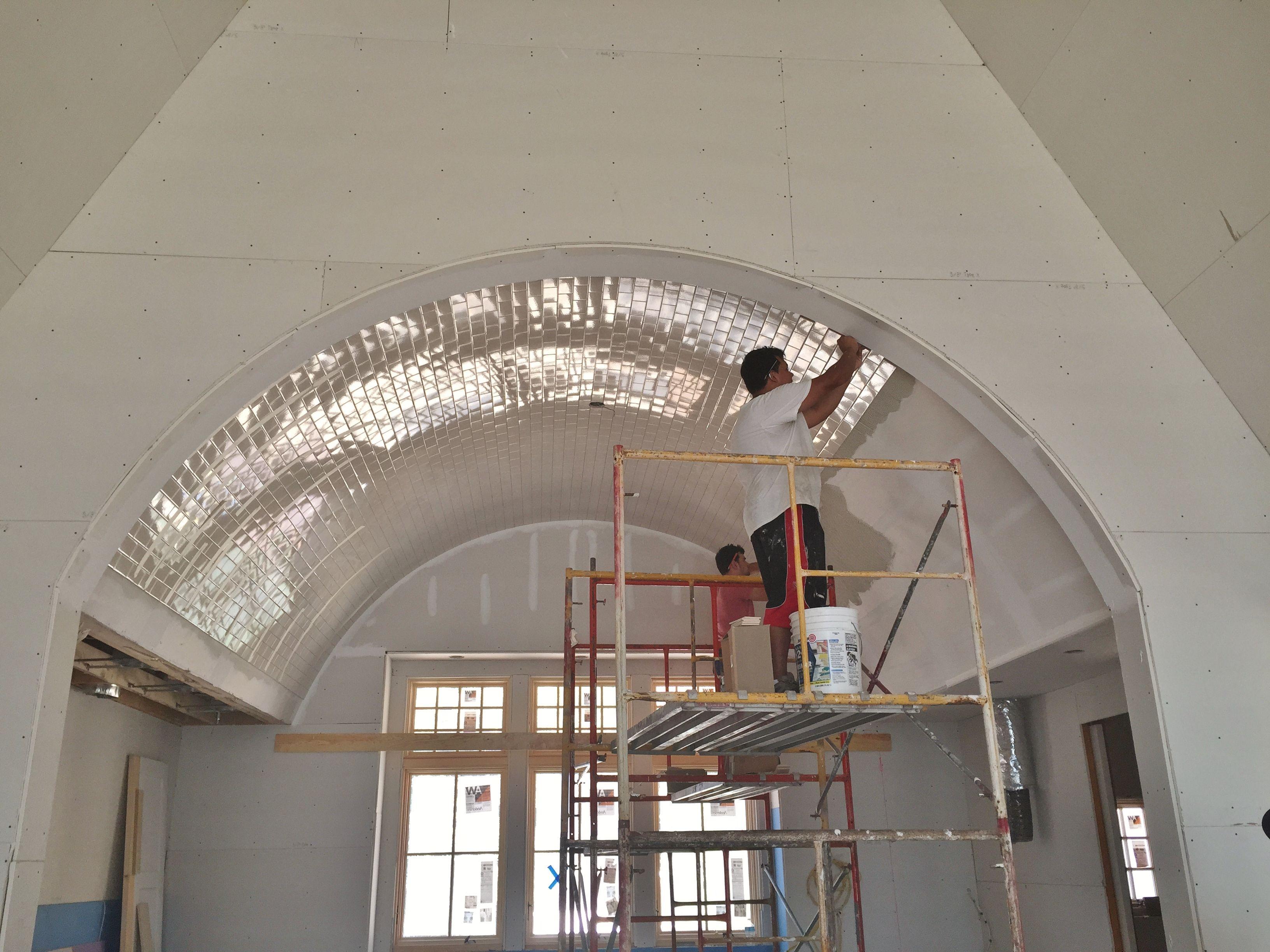 Barrel vaulted kitchen ceiling 3x6 subway tile tile jobs weve barrel vaulted kitchen ceiling 3x6 subway tile dailygadgetfo Choice Image