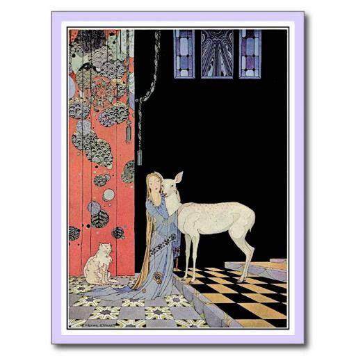French fairy tales: Blondine and Bonne-Biche Postcard | Zazzle.com