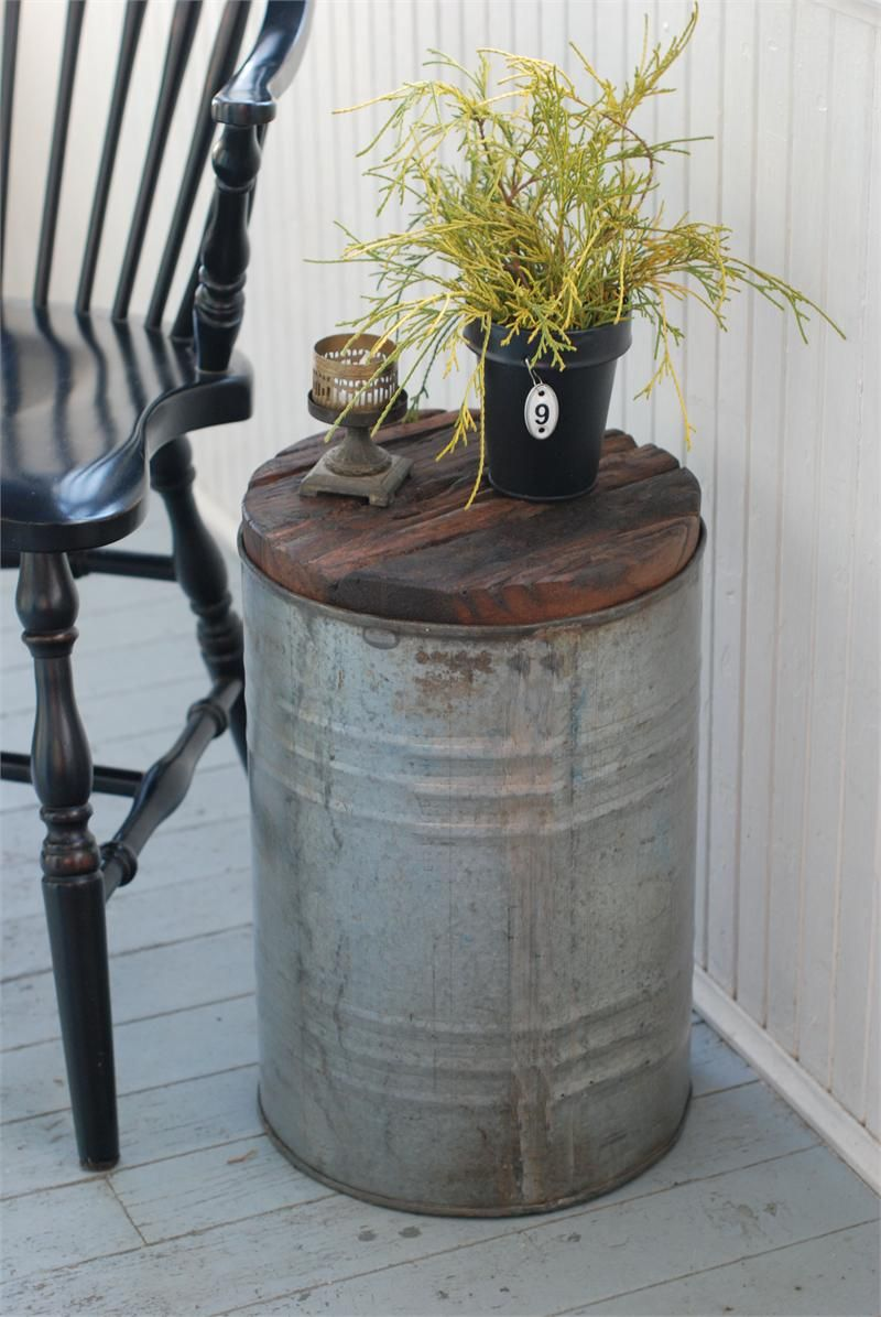 Salvaged Metal Drum Side Table ,Paint My Plastic Buckets Sliver Top With  Brown Leather Seat