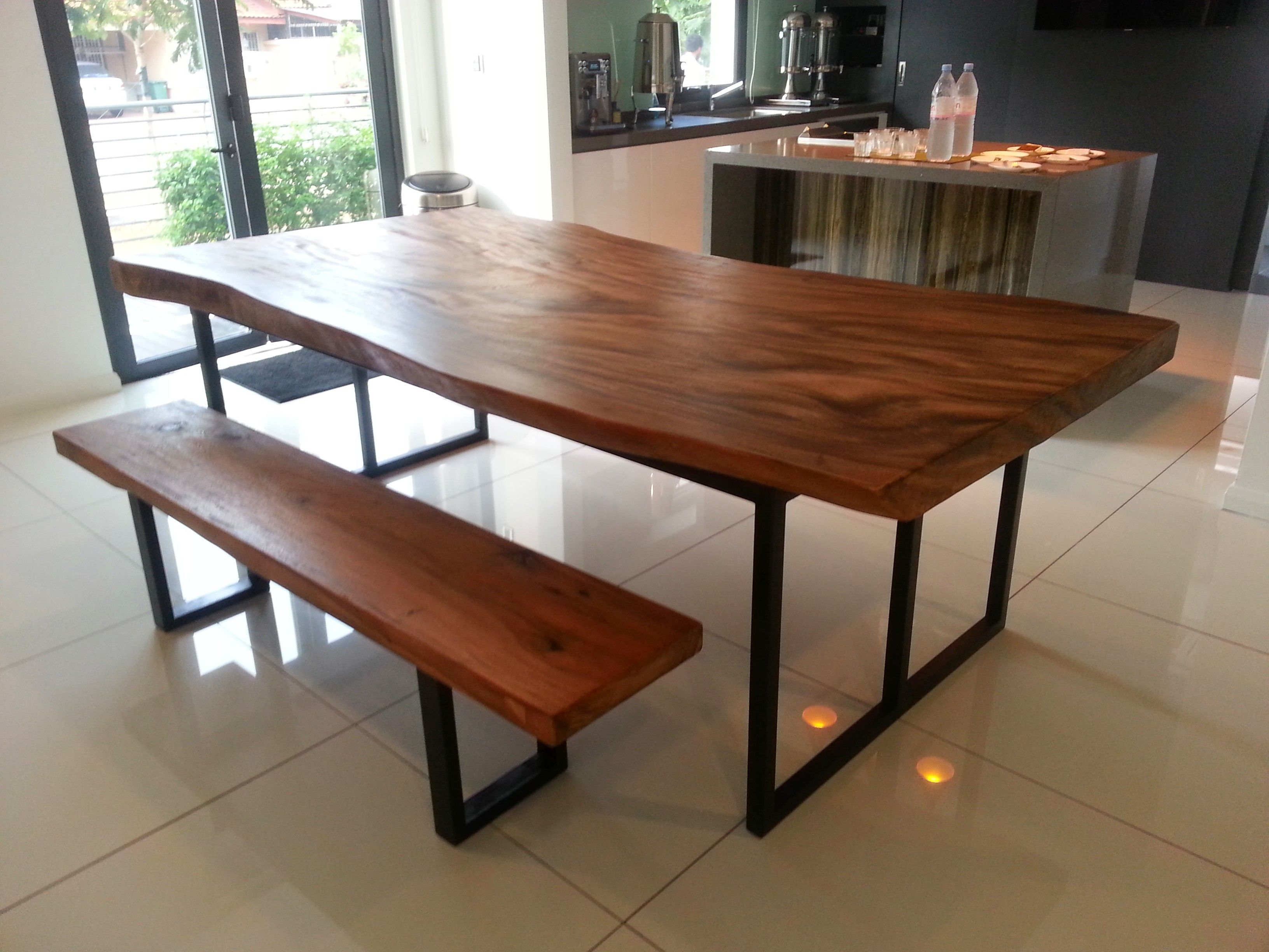 Suar Wood Dining Table With Metal Legs 220x100x78cm Suar