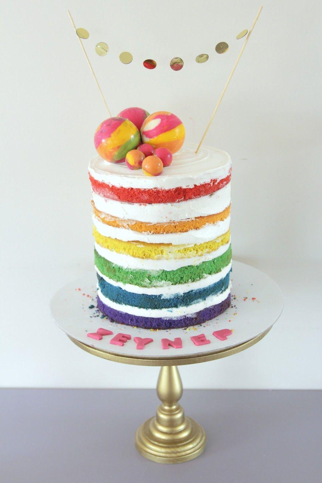 Rainbow cake , rainbow naked cake   Rainbow birthday cake ...