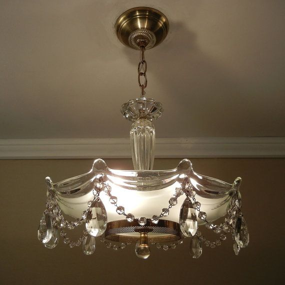 Hanging Light Fixture Replacement Glass: Vintage Chandelier Crystal Beaded Drape 1930's Antique