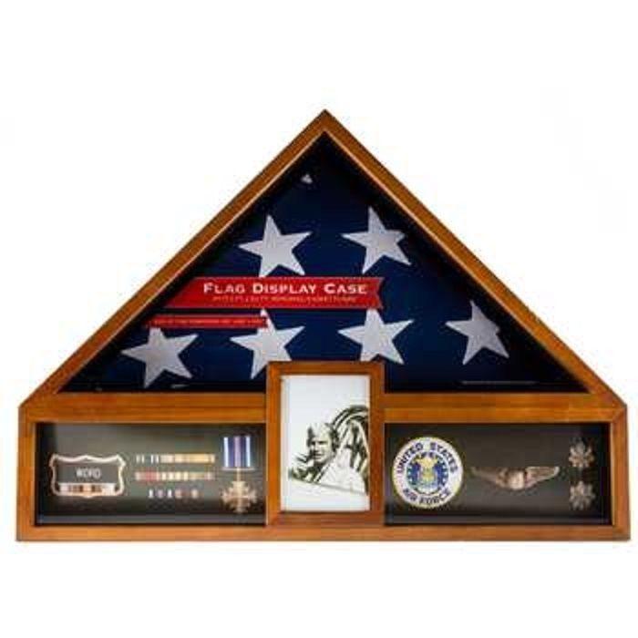 american flag display case oak military veteran display box funeral ...