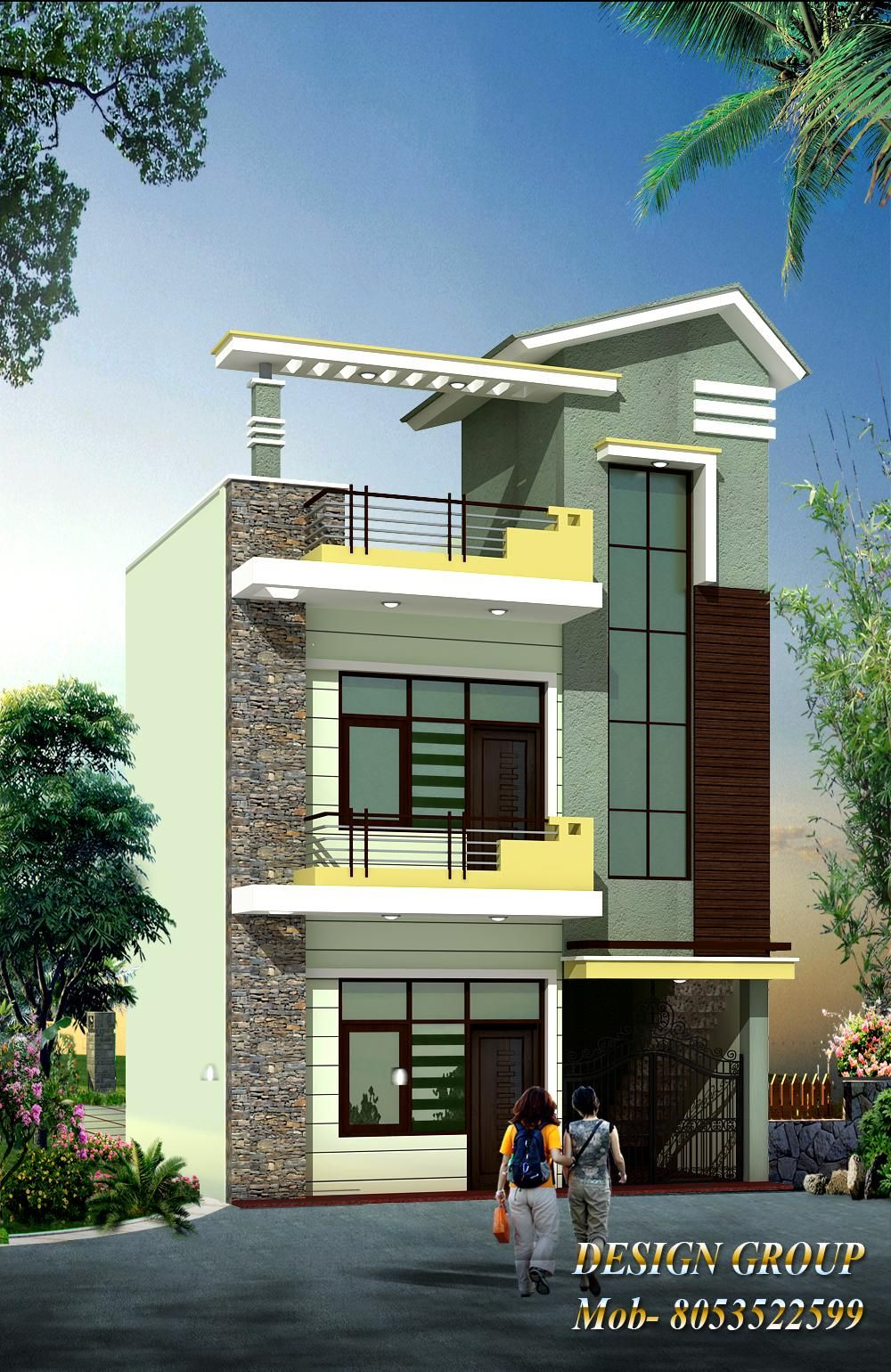 Front Elevation With Images Duplex House Design Small