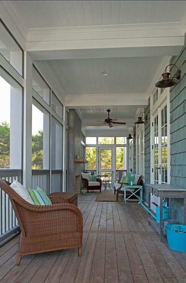 Turquoise and White   House with porch, Traditional porch ...