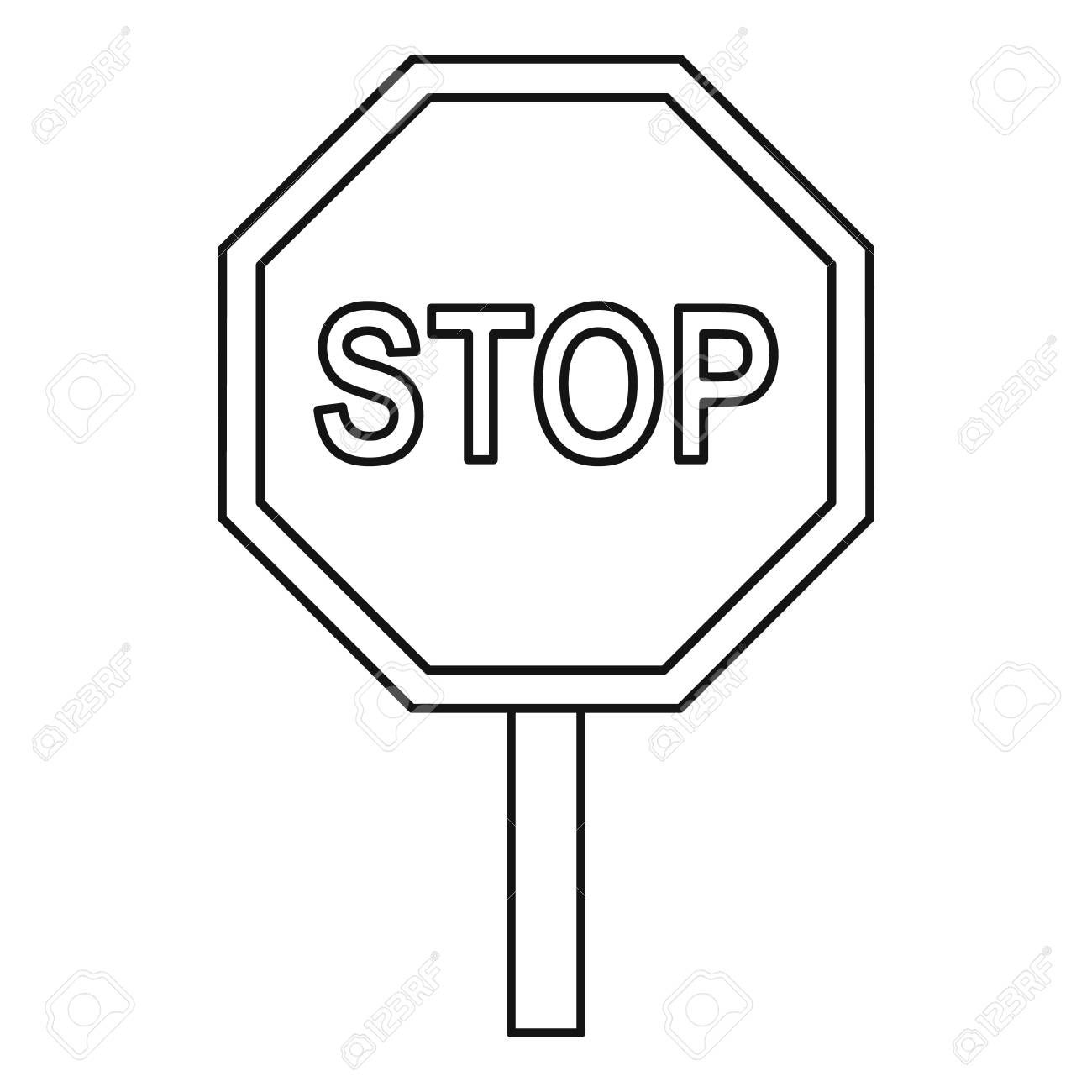 Stop Sign Outline In