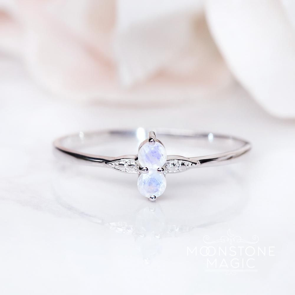 Moonstone ring petite double yes please pinterest