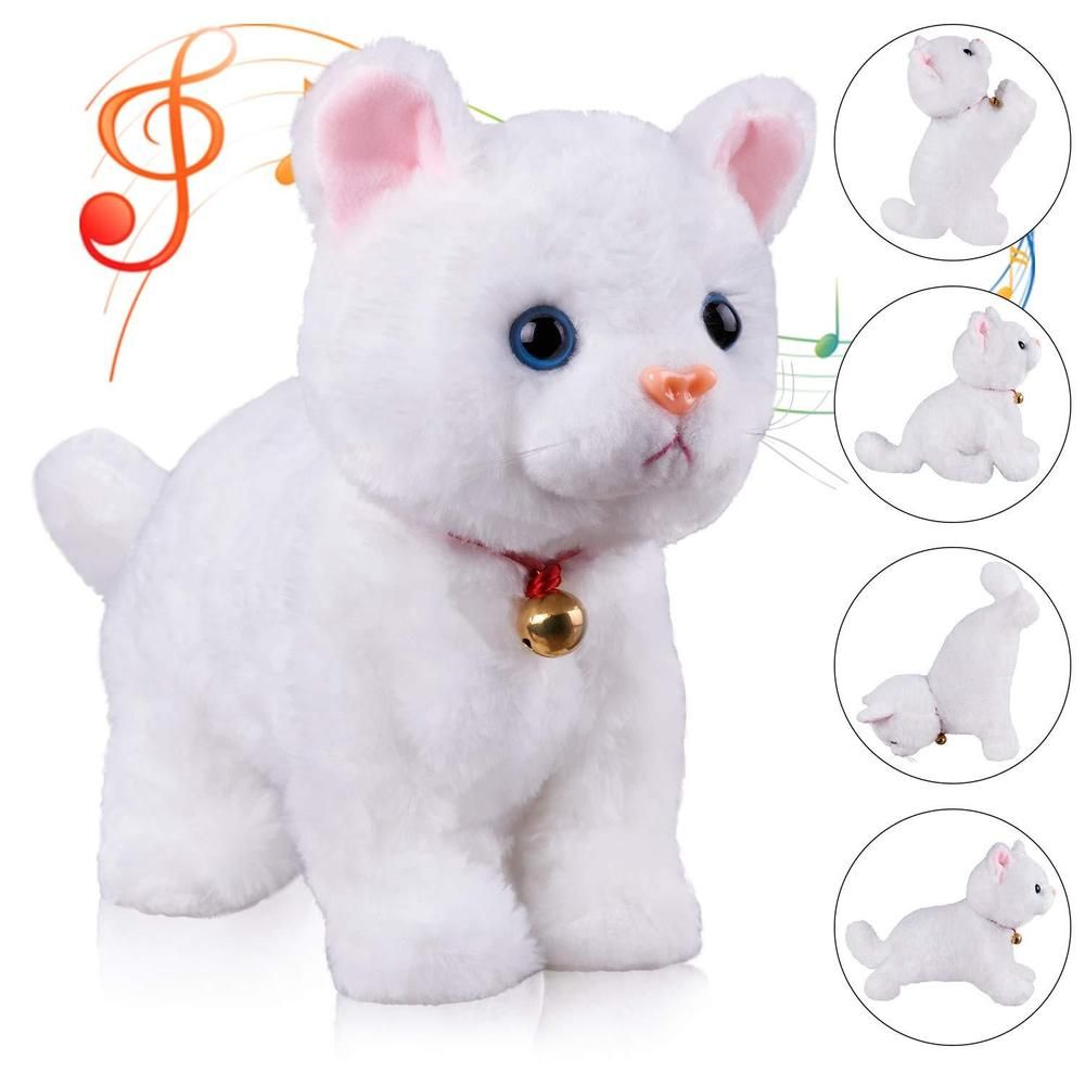 9a3b48199e5c White Cat Kitty Plush Stuffed Animal Interactive Robot Toys Pet Kids Xmas  Gift #Marsjoy