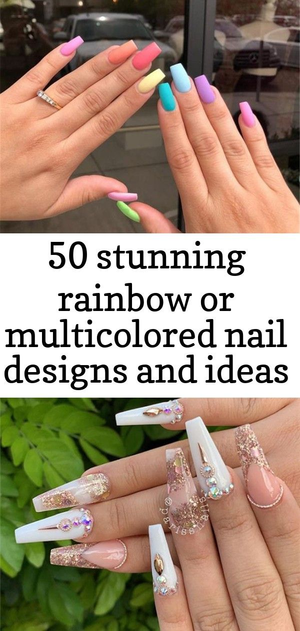 50 verbluffende regenboog- of veelkleurige nagelontwerpen en ideeën voor u in de zomer – pagina 31 van 50 2