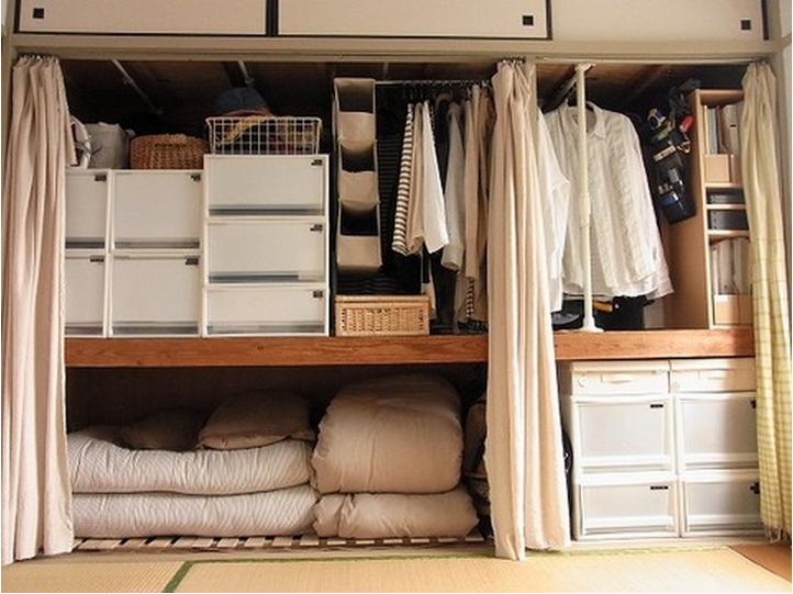 A Well Organized Japanese Style Closet. The Sliding Doors Have Been Removed  And