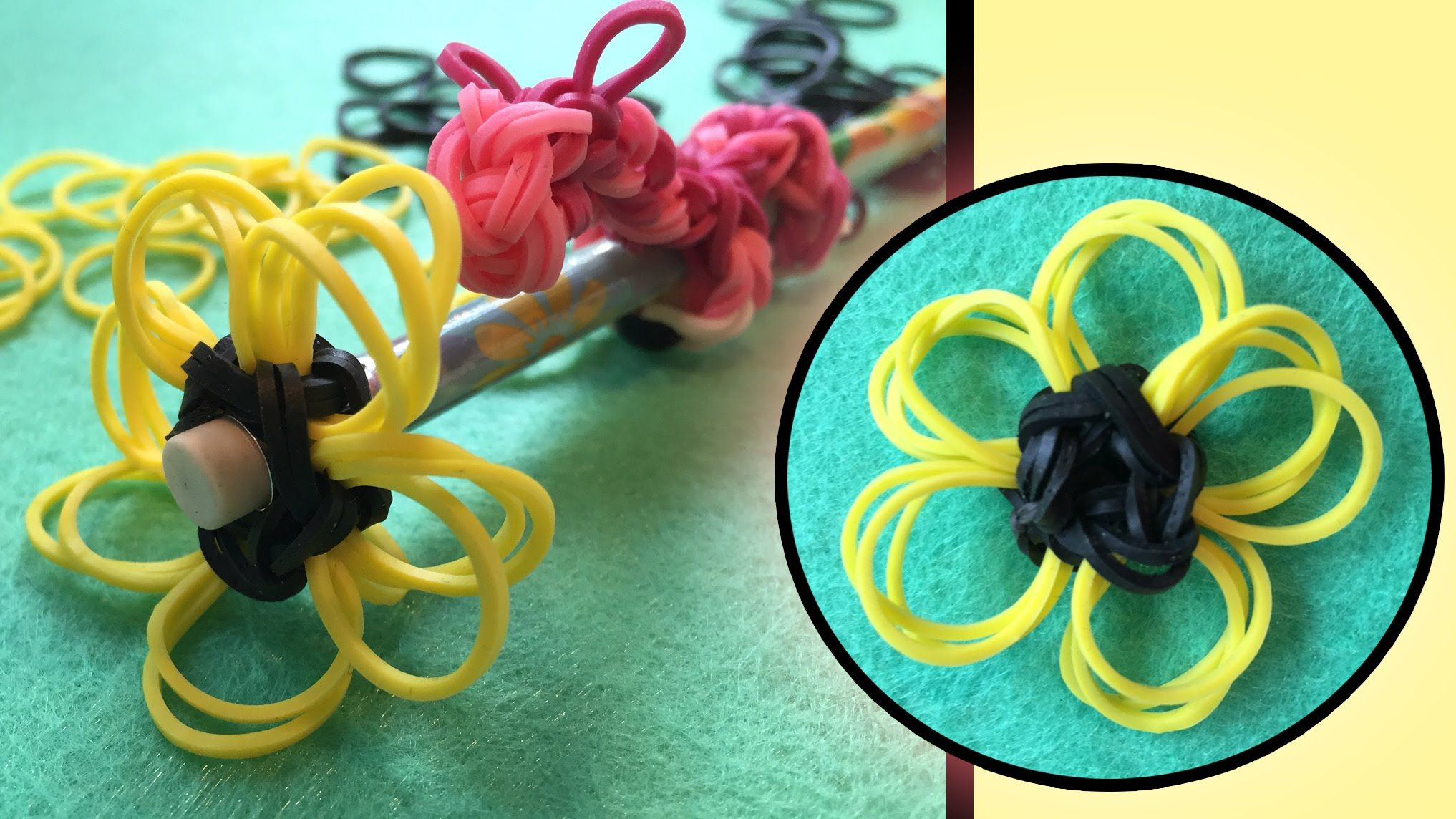 easy rainbow loom band charms flower pencil topper