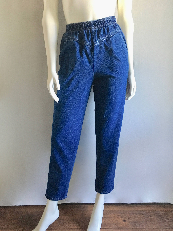 e0f91020bb Vintage Women's 80's Elastic Waist Jeans, High Waisted, Blue, Denim (S) by  Freshandswanky on Etsy