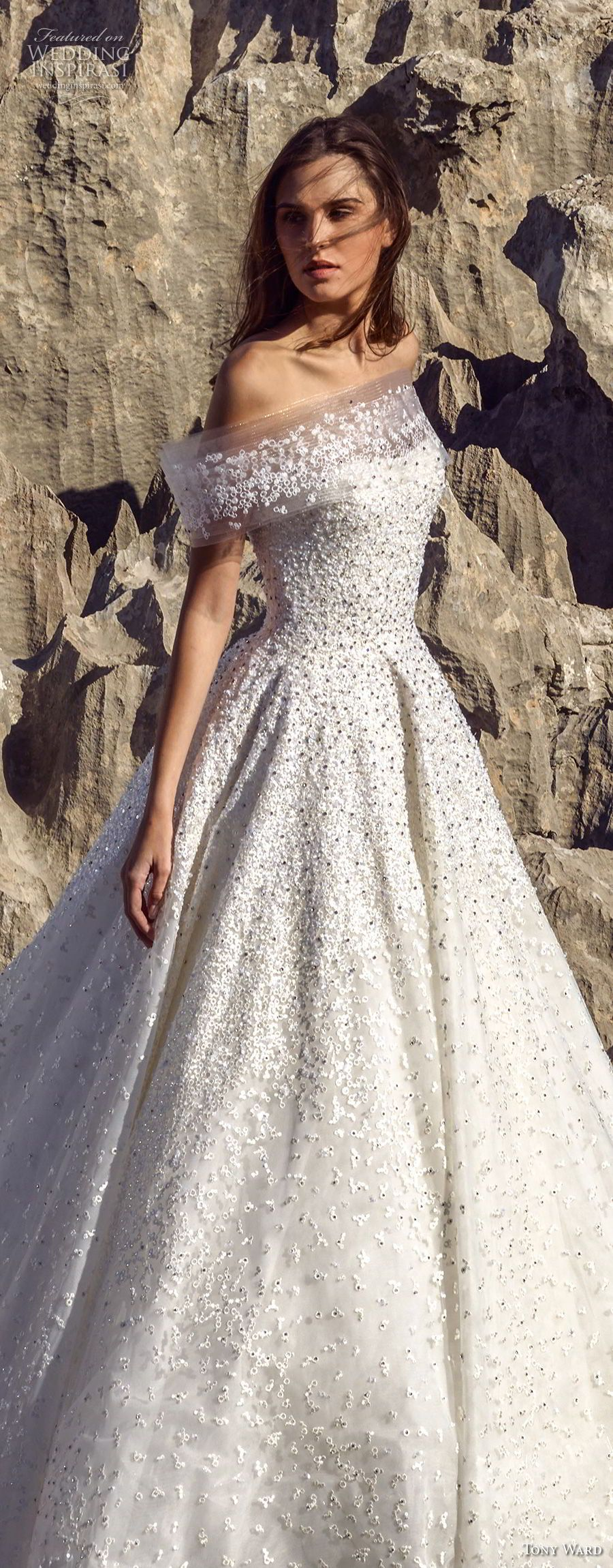 Tony ward fall bridal off the shoulder straight across neckline