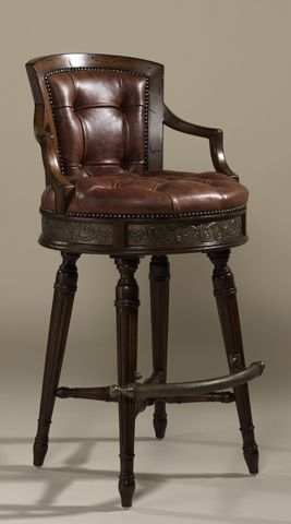 Frontier Finished Mahogany Swivel Barstool Deep Button