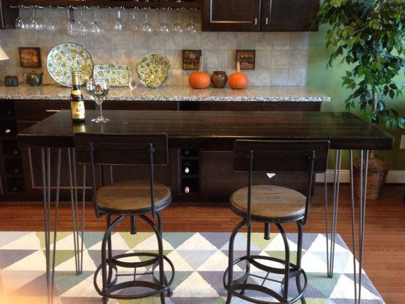 Oak Bar Height Table Stained Dark Hairpin Legs Counter Height Dining Table High Dining Table Stained Table