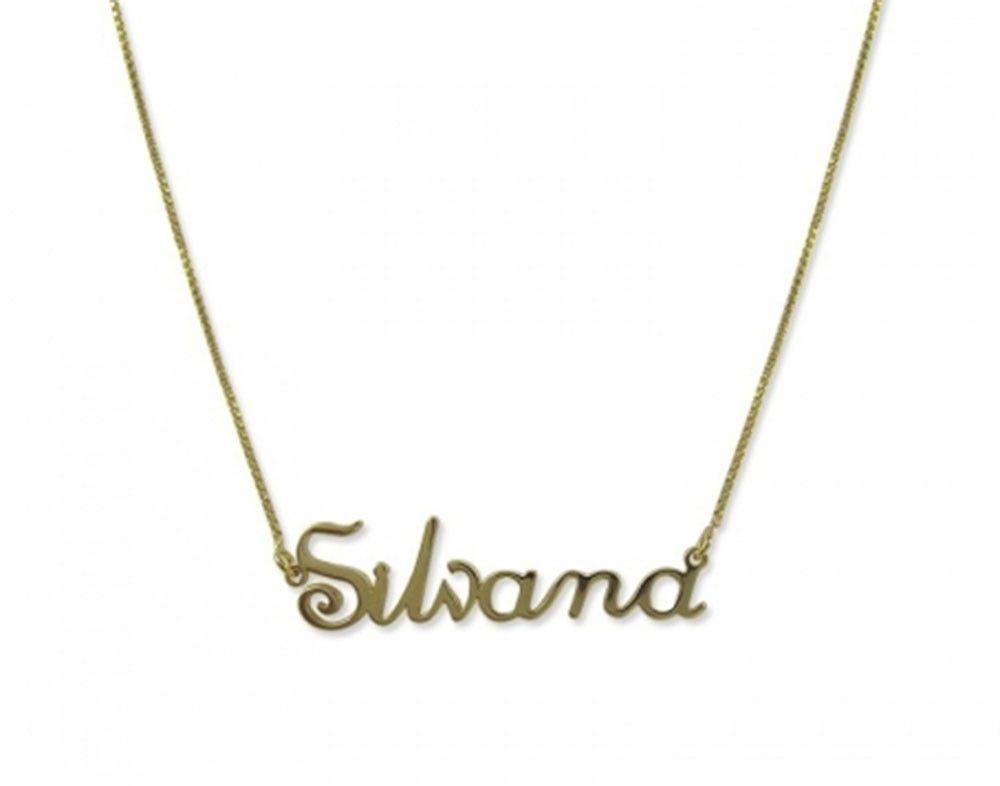 Confeccionamos gargantilhas com qualquer nome ou palavra até 10 letras.   br Folheada a ouro 18K com um 1 de garantia. d06cb8a67e