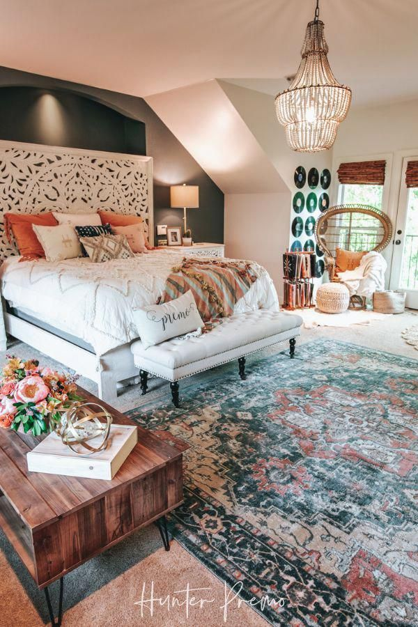 Cozy Master Bedroom Reveal. Before and after pictures. Find ideas for your own room. Rustic and boho design with cutest colors.  Hunter Premo #HunterPremo #MasterBedroom #BohoDesign #Bohodecor #HomeDecorIdeas
