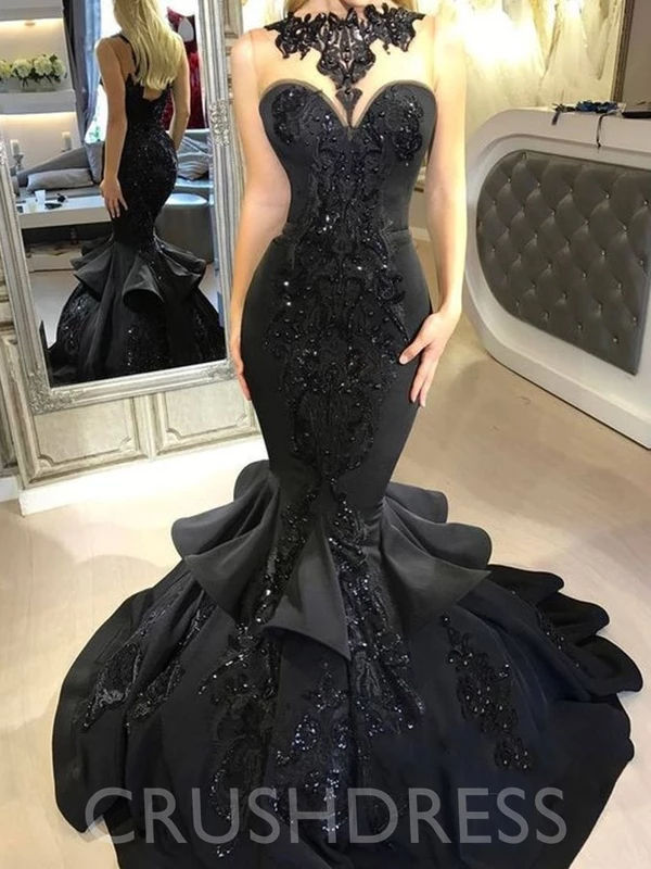 Sleeveless Appliques Court Trumpet Mermaid Evening Dress Crushdress Black Mermaid Dress Black Mermaid Prom Dress Prom Dresses Long Mermaid