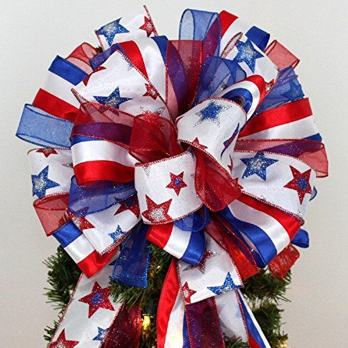 Patriotic Stars Stripes Christmas Tree Bow Topper Bow - 13\