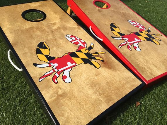 Maryland crab custom cornhole board sets by wgcornhole on etsy