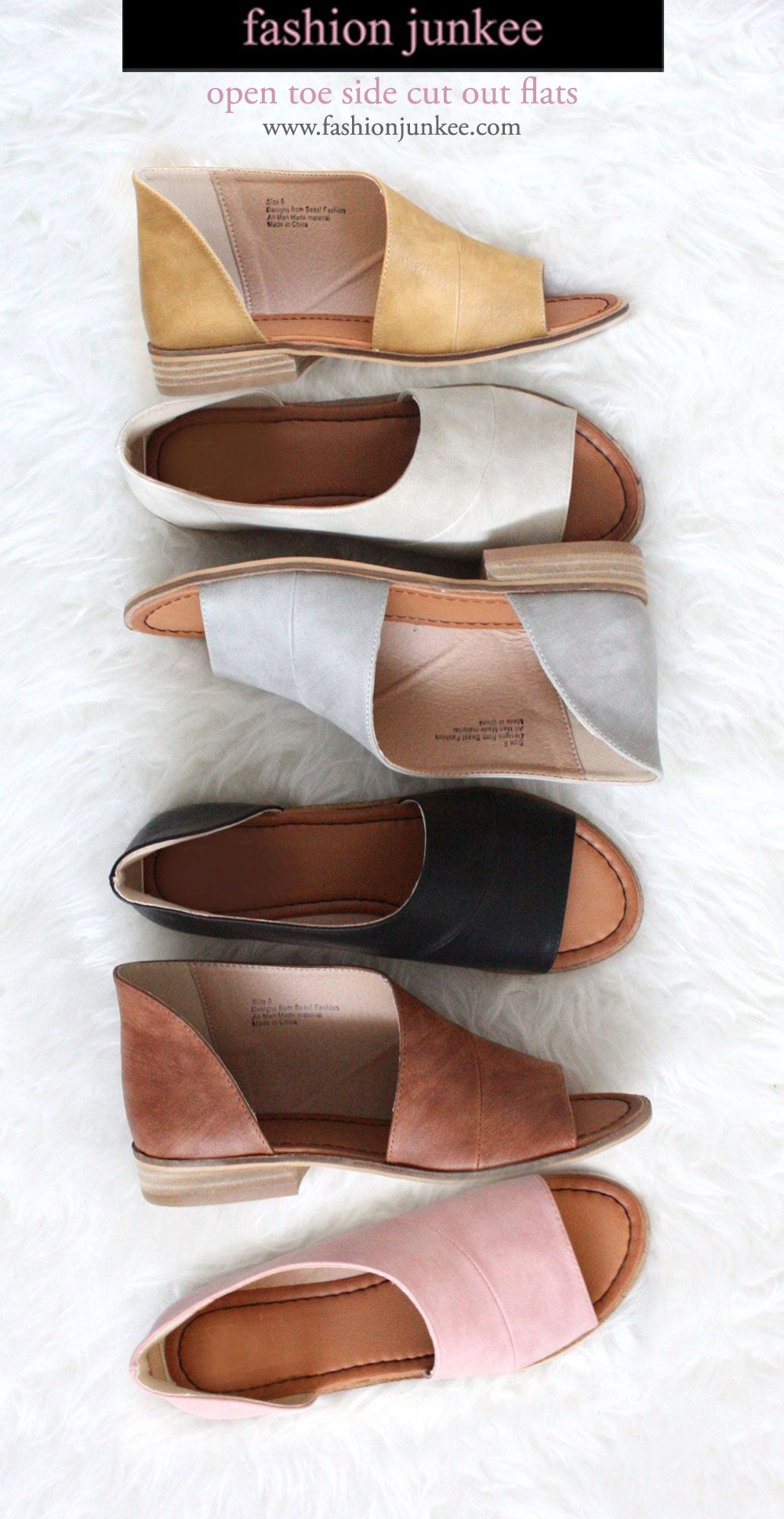 Open Toe Faux Leather Side Cutout Flats Comes In 8 Colors Cognac Brown Black Grey Taupe Blush Pink Mus Cutout Shoes Open Toe Flats Outfit Cutout Sandal