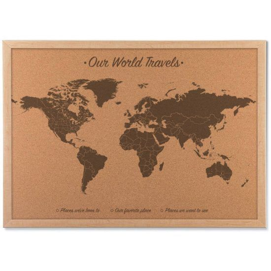 World map cork board includes 100 map pins wood push pin map push pin world map on cork board includes 100 map pins wood anniversary gift gumiabroncs Gallery