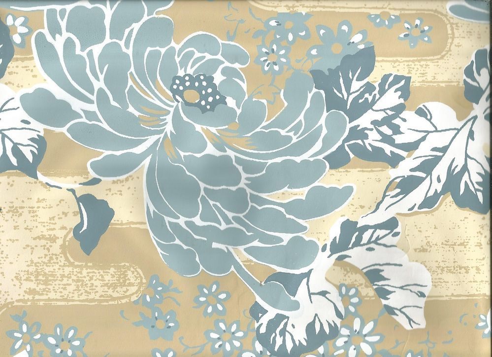 Art deco large scale flower teal blue on cream floral