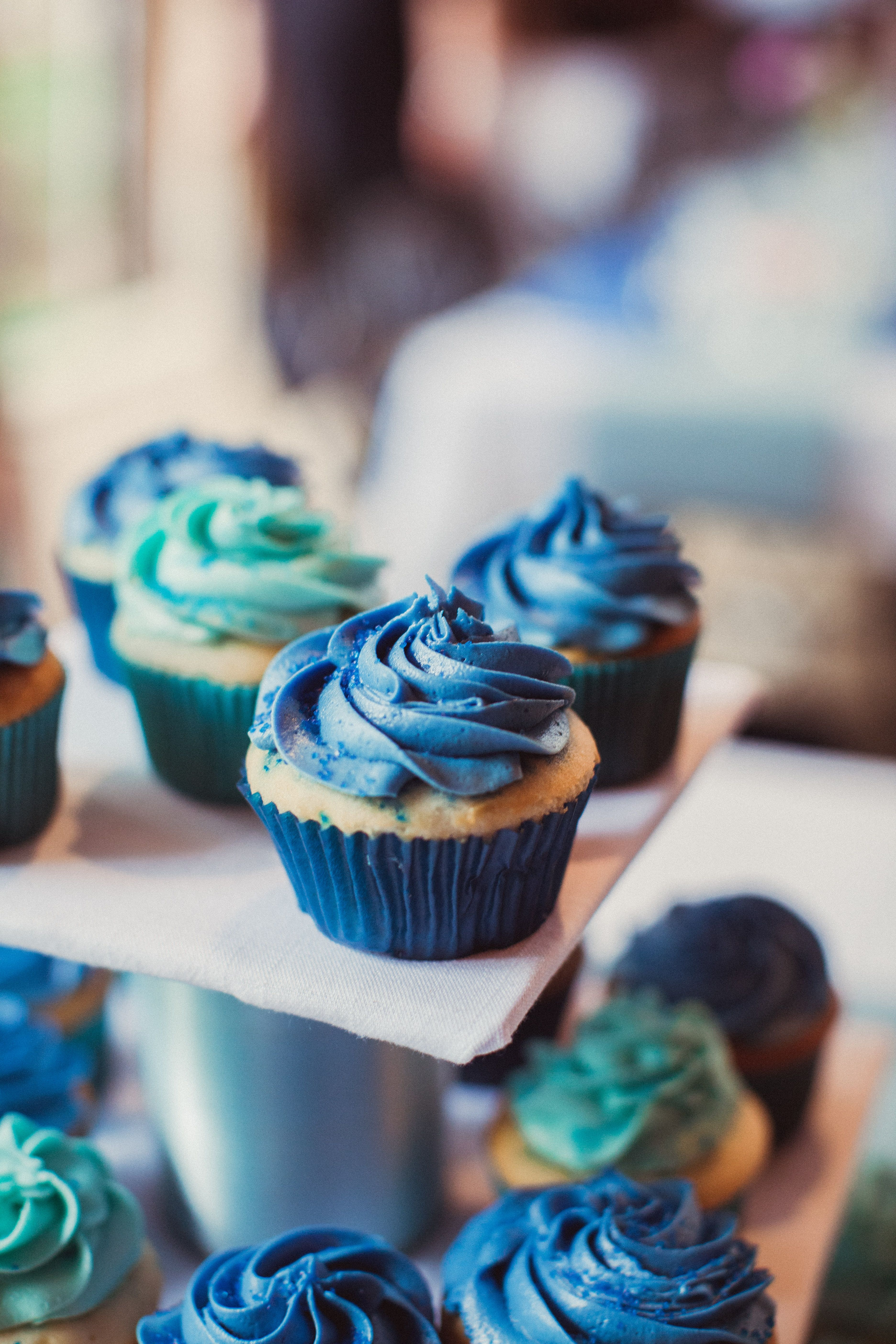 Blue and Teal Homemade Cupcakes