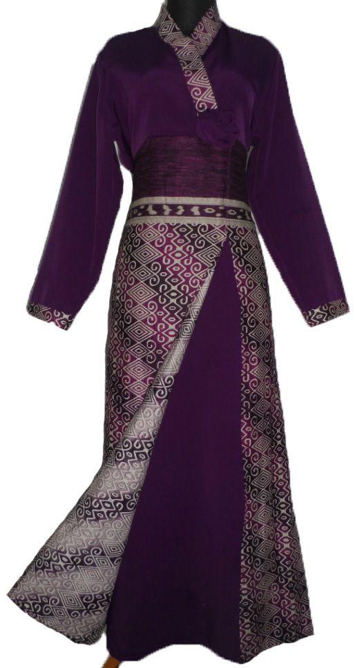 Gaun Batik Pesta Ungu Bahan Katun Sritex Batik Sarimbit Model