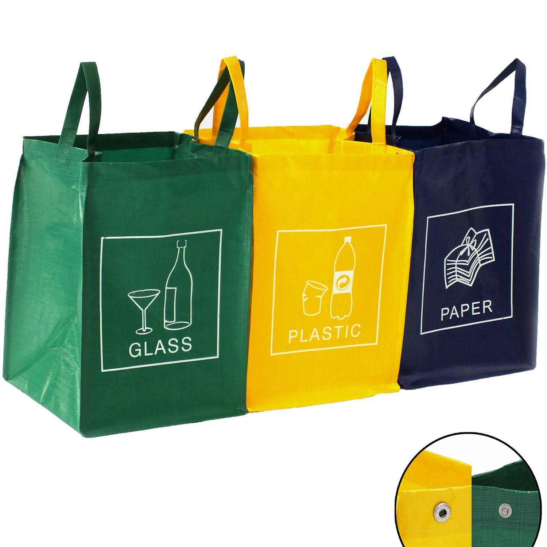3er Set Recycling Mull Sortiertaschen Mulltrennsystem