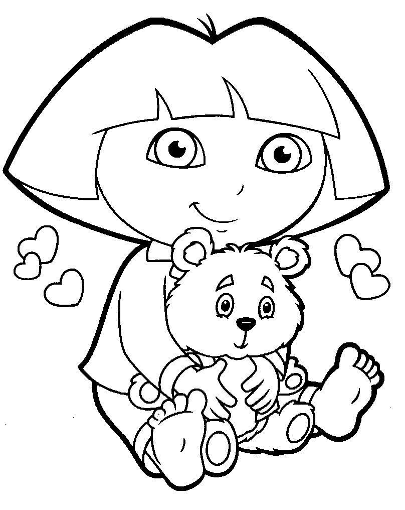 Dora loves bear coloring page | coloring | Pinterest | Dora la ...