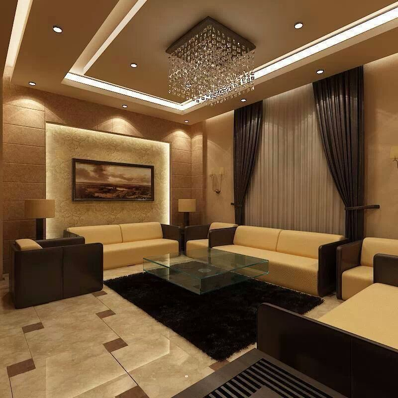 Fake Ceiling Designs Living Room: Black And Brown Living Room