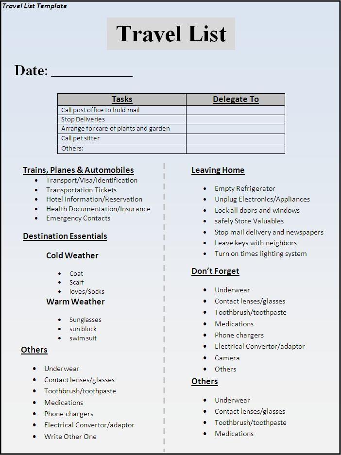 Travel List Template Travel Pinterest Travel list, Travel - packing checklist template