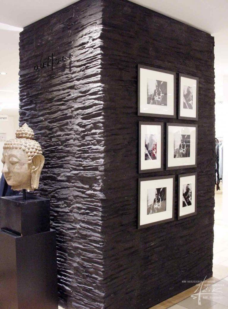 Schieferwand  Projekt Physiotherapie  Steinwand wohnzimmer Wnde und Steinwand