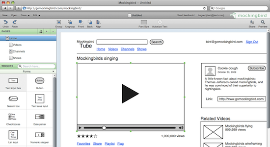 mockingbird is an online tool that makes it easy for you to create link together - Website Wireframe Tool Online
