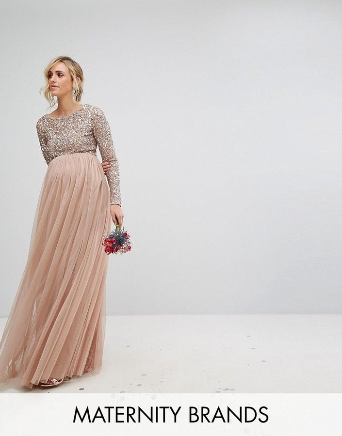 05c595d9f0073 Maya Maternity Long Sleeved Maxi Dress with Delicate Sequin and Tulle Skirt  Um...woah! So gorgeous and perfect for maternity photos!!!