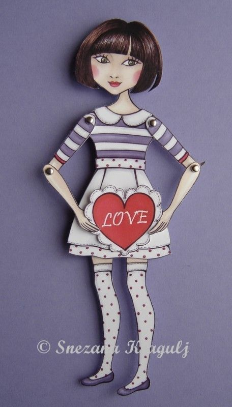 Valentine's paper doll I give you my heart by katyandthecat, $10.00