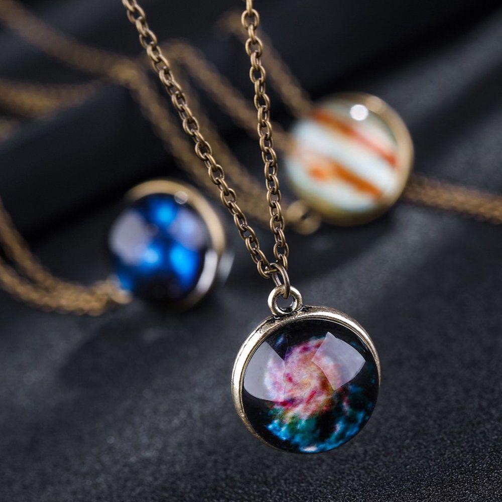 Mens necklace Galaxy Star Nebula Luminous Neckalce Glass Dome Cabochon Pendant Neckalce Silver Chain Glow In The Dark Jewelry