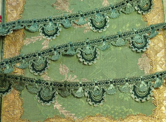 "1 yard antique striking passementerie art deco rayon cotton braid trim green shade 1 5/16"" wide dolls millinery edwardian flapper dress hats"