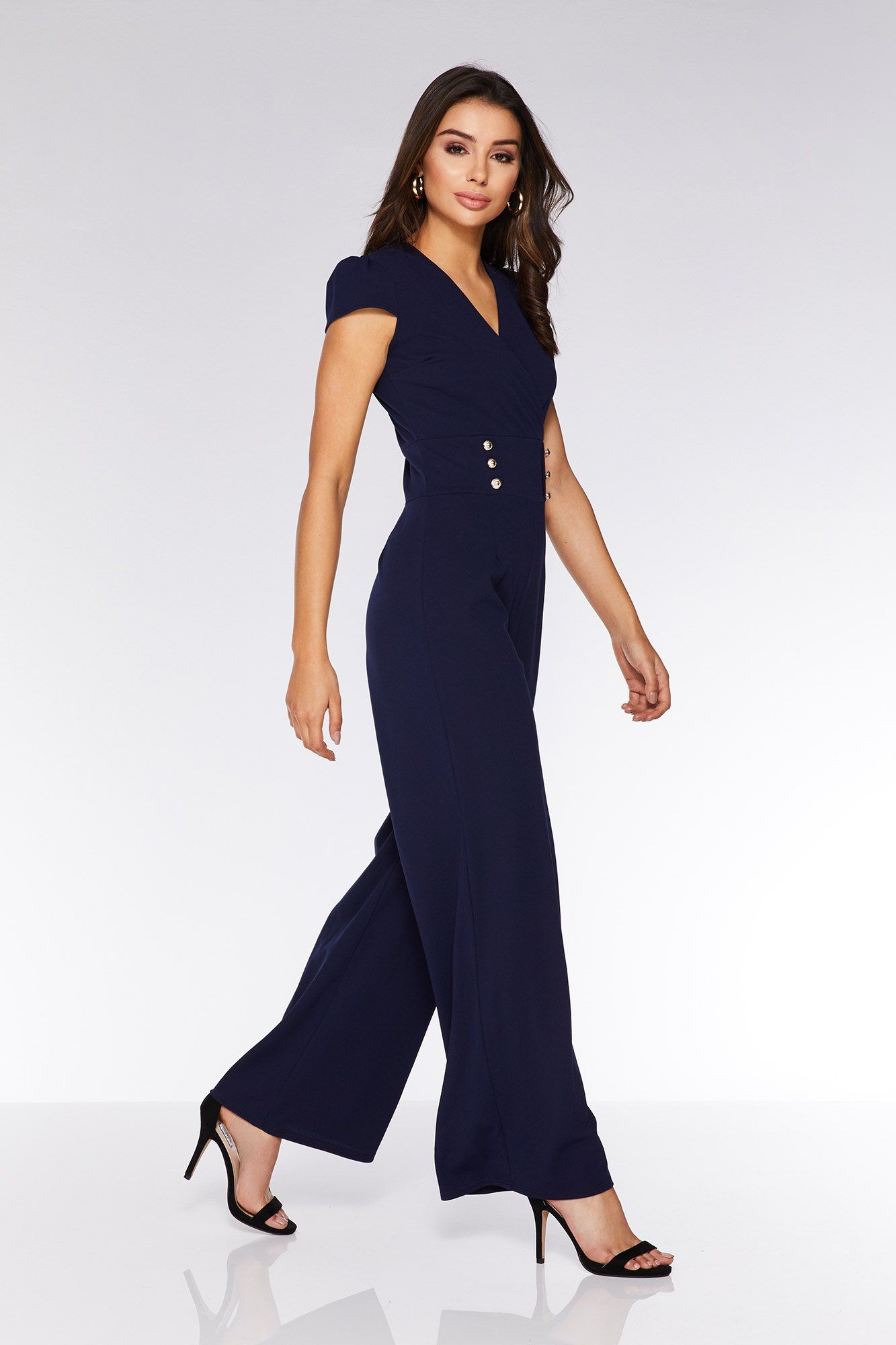 21a3525dee Navy Button Detail Palazzo Jumpsuit - Quiz Clothing