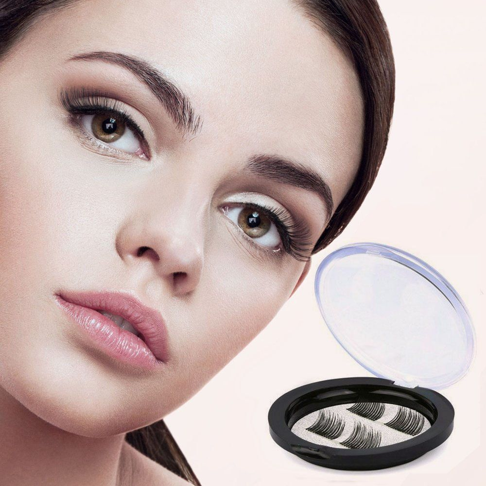 573f7f4ad97 Dual Magnetic False Eyelashes - No Glue 3D Reusable fashionable Fake  Eyelashes Extension for Beautiful Natural